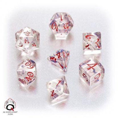 Picture of Classic Transparent-blue-red dice set, Set of 7